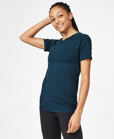 Athlete Mesh Seamless Workout T-Shirt, Beetle Blue | Sweaty Betty