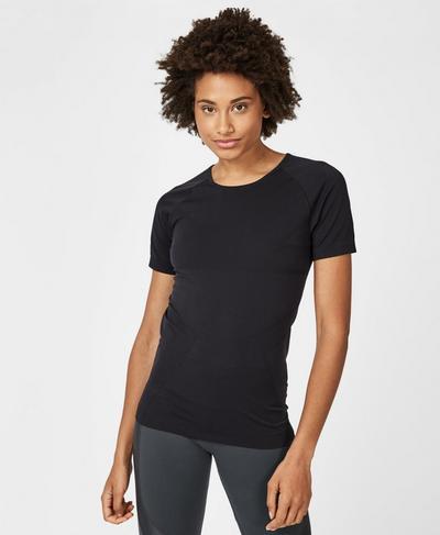 Athlete Seamless Workout T-Shirt, Black   Sweaty Betty