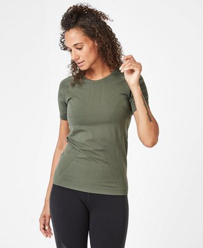 Athlete Seamless Workout T-Shirt, Olive   Sweaty Betty