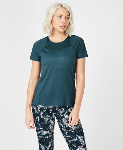 Breeze Short Sleeve Merino Running T-Shirt, Stargazer | Sweaty Betty