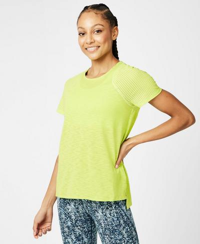 Breeze Short Sleeve Running T-Shirt, Lime Punch Green | Sweaty Betty