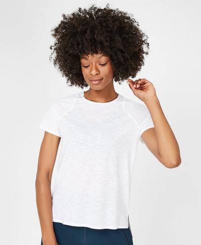 Breeze Short Sleeve Running Workout T-Shirt, White | Sweaty Betty