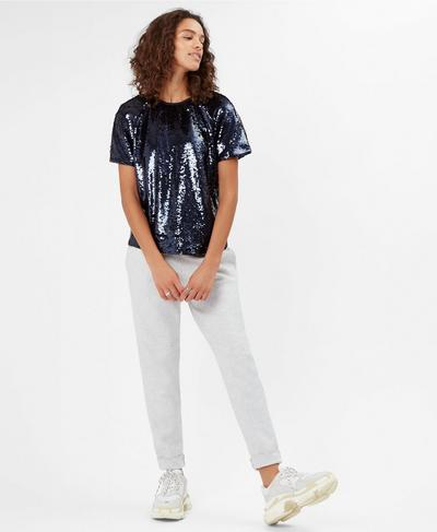 Sequin Oversized Tee, Beetle Blue | Sweaty Betty