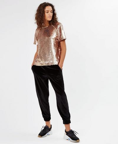 Sequin Oversized Tee, Rose Gold | Sweaty Betty