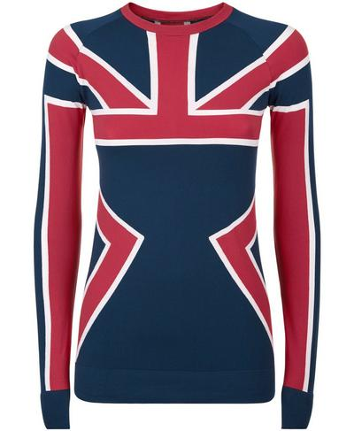 Union Jack Ski Seamless Long Sleeve Base Layer Top, Beetle Blue Union Jack | Sweaty Betty