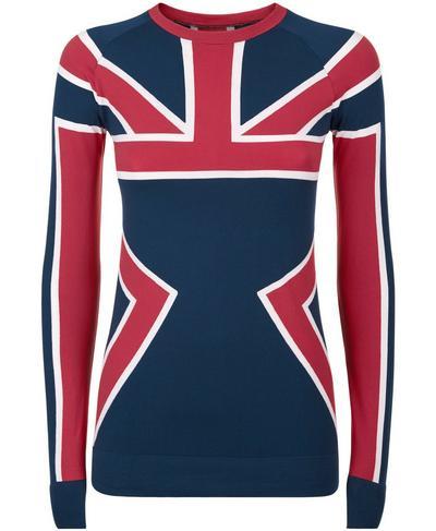 Union Jack Ski Seamless Long Sleeve Base Layer Top, Beetle Blue Union Jack | Sweaty Betty