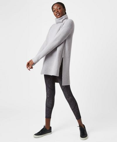 Shakti Knitted Sweater, Silver Grey Marl | Sweaty Betty