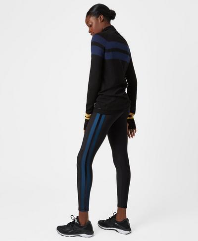 Thermodynamic Running Leggings, Black Tuxedo Stripe | Sweaty Betty