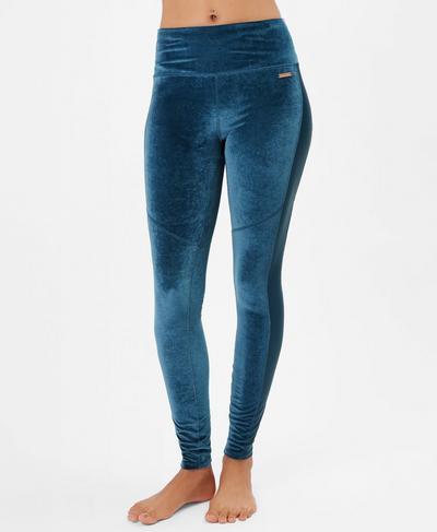 Velvet Fashion Leggings, Beetle Blue | Sweaty Betty