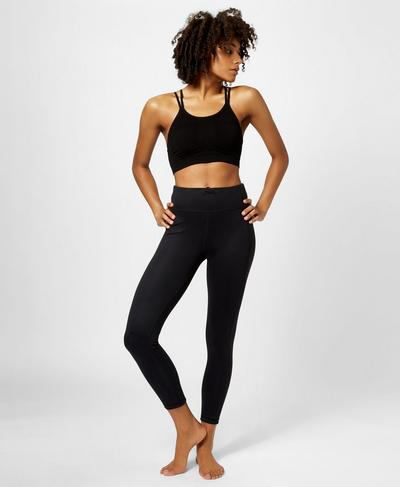 Brahma Bamboo Padded Yoga Bra, Black | Sweaty Betty