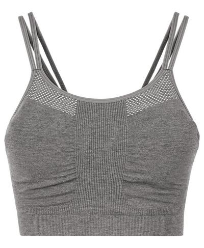 Brahma Bamboo Padded Yoga Bra, Charcoal Marl | Sweaty Betty