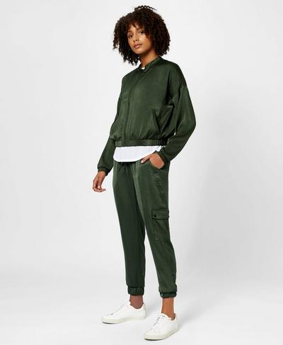 Luxe Cargo Satin Jacket, Olive | Sweaty Betty