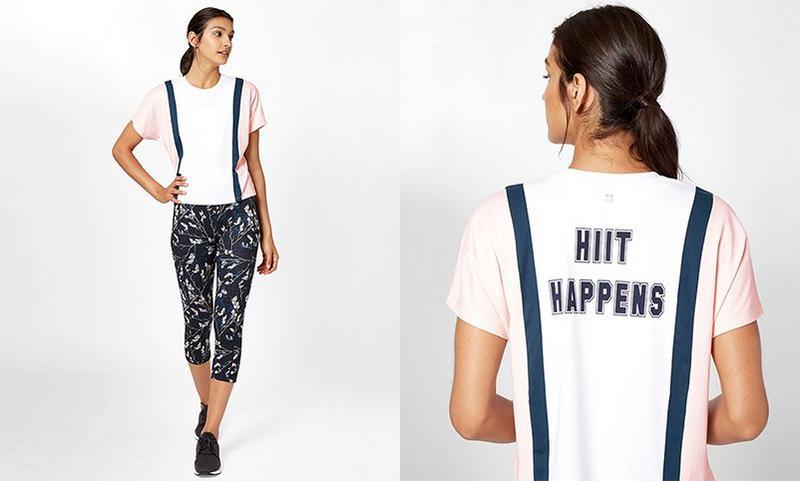 Colour Block T-shirt, WhitePink | Sweaty Betty