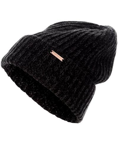 Chunky Rib Beanie, Black Marl | Sweaty Betty