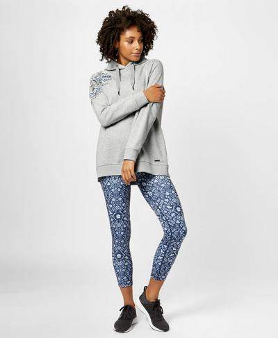 Embroidered Hoodie, Silver Grey Marl | Sweaty Betty