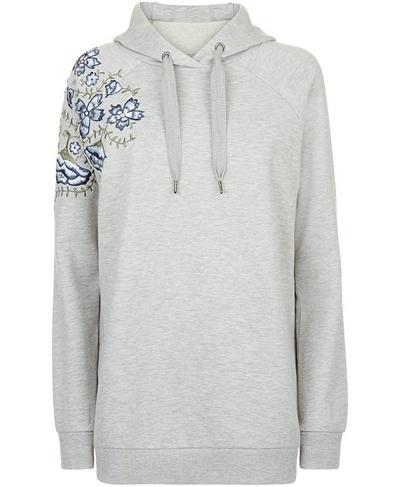 Embroidered Hoodie, Silver Grey Marl   Sweaty Betty