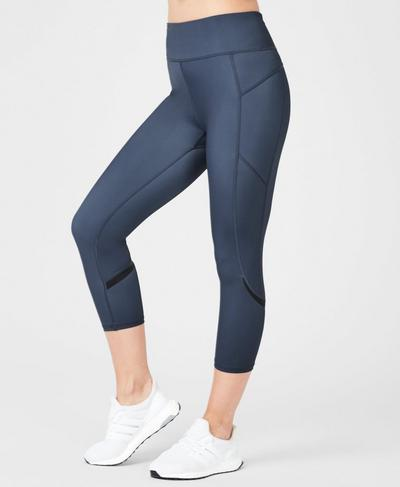 Zero Gravity High Waisted Cropped Running Leggings, Washed Navy | Sweaty Betty
