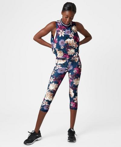 Zero Gravity Crop Run Leggings, Beetle Blue Blooms Print | Sweaty Betty