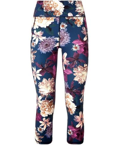 Zero Gravity Crop Run Leggings, Beetle Blue Blooms Print | Sweaty Betty