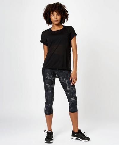 Zero Gravity Crop Run Leggings, Black Market Floral | Sweaty Betty