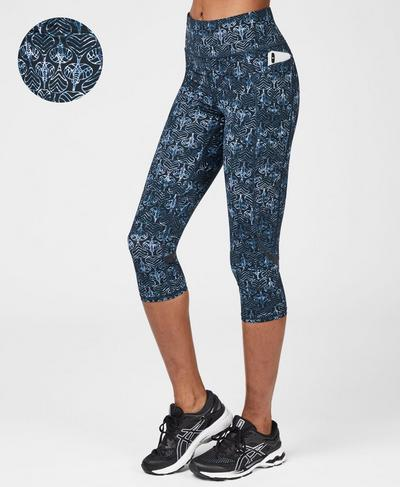 Zero Gravity High Waisted Cropped Running Leggings, Blue Elephant Batik Print | Sweaty Betty