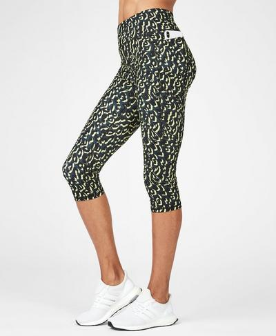 Zero Gravity High Waisted Cropped Running Leggings, Citrus Leopard Print | Sweaty Betty