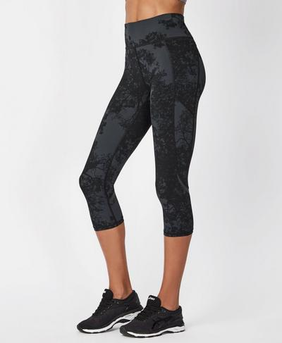 Zero Gravity Crop Side Pocket Run Leggings, Tonal Forest Print | Sweaty Betty