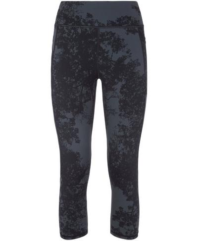 Zero Gravity Crop Side Pocket Run Leggings, Tonal Forest Print | Sweaty Betty
