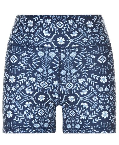 Reversible Yoga Shorts, Beetle Blue High Tea Print | Sweaty Betty