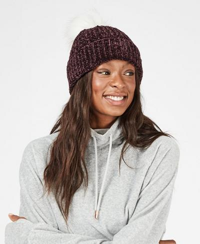 Kings Road Bobble Hat, Black Cherry | Sweaty Betty