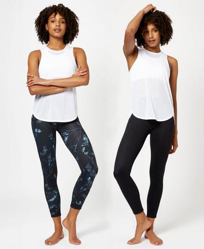 Reversible 7/8 Yoga Leggings, Beetle Blue Floral Grid Print | Sweaty Betty