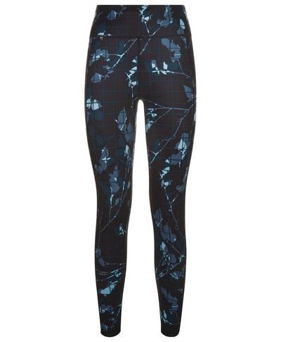 Reversible 7/8 Yoga Leggings, Beetle Blue Floral Grid Print | Sweaty Betty