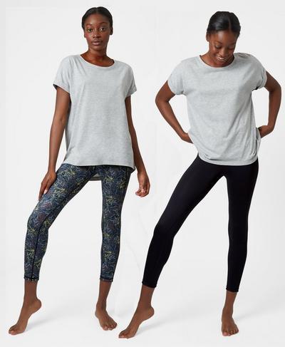 Reversible 7/8 Yoga Leggings, Beetle Blue Running Wild Print | Sweaty Betty