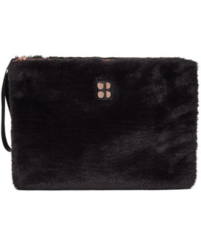 Faux Fur Clutch Bag, Black | Sweaty Betty