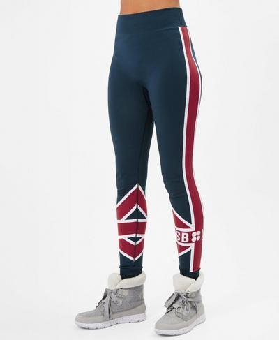 Union Jack Ski Seamless Base Layer Leggings, Beetle Blue Union Jack | Sweaty Betty