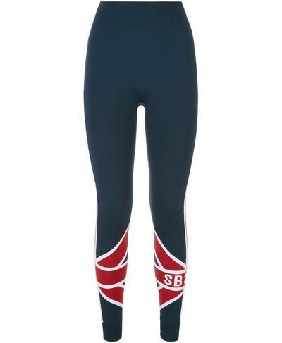 Union Jack Ski Seamless Base Layer Workout Leggings, Beetle Blue Union Jack | Sweaty Betty