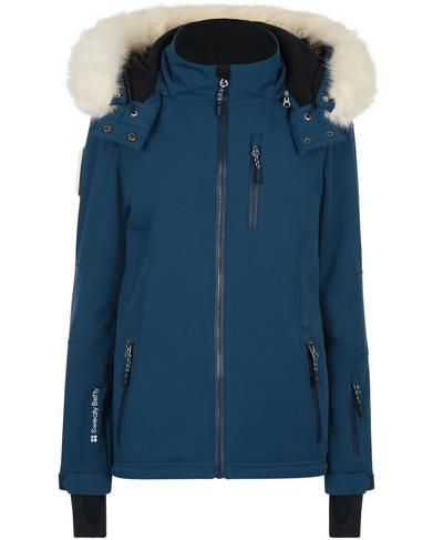 Exploration Softshell Ski Jacket, Beetle Blue | Sweaty Betty