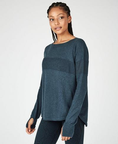 Position Knitted Sweater, Beetle Blue Marl | Sweaty Betty