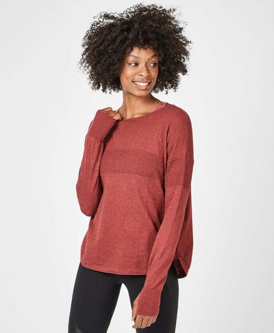 Position Knitted Sweater, Rust Marl | Sweaty Betty