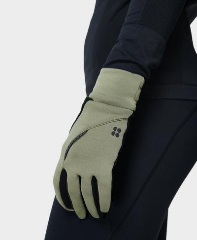 Run Gloves , Moss Green | Sweaty Betty
