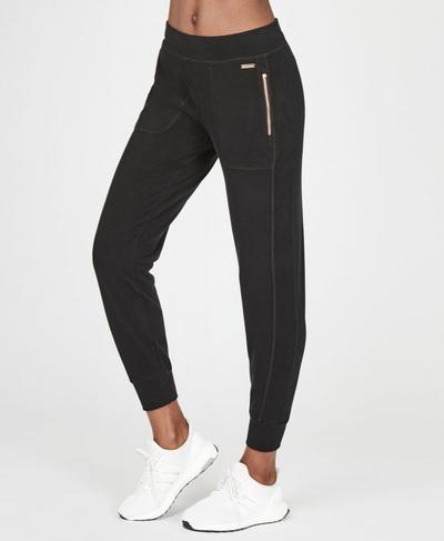 Garudasana Luxe Fleece Trousers, Black | Sweaty Betty