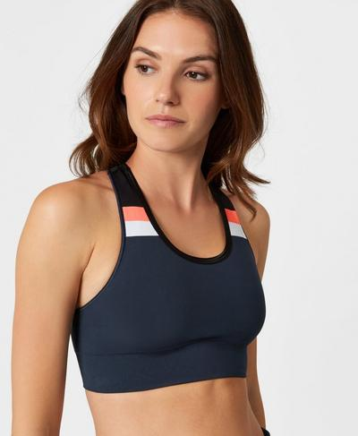 Stamina Colour Block Workout Bra, Beetle Blue Colour Block | Sweaty Betty