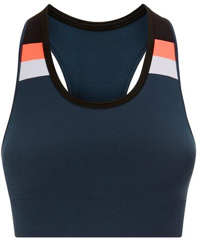 Stamina Colour Block Workout Bra, Beetle Blue Colour Block | Sweaty Betty