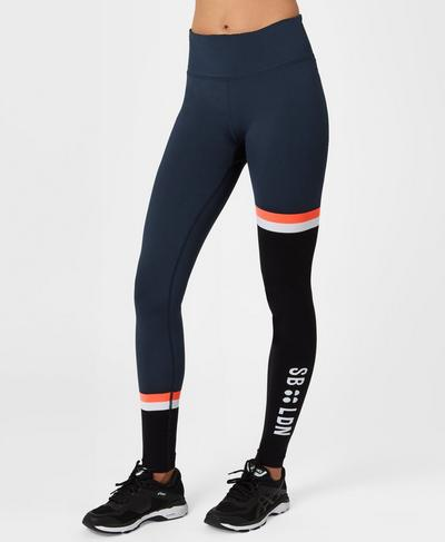 Form Colour Block Workout Leggings, Beetle Blue Colour Block | Sweaty Betty
