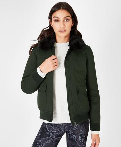 Harrington Padded Jacket, Dark Forest | Sweaty Betty