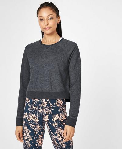 Chelsea Crop Sweatshirt, Beetle Blue | Sweaty Betty