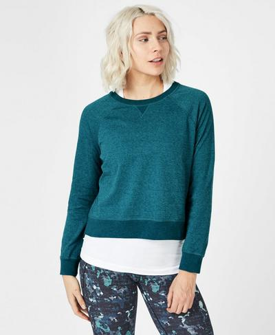 Chelsea Crop Sweatshirt, Deep Lake | Sweaty Betty