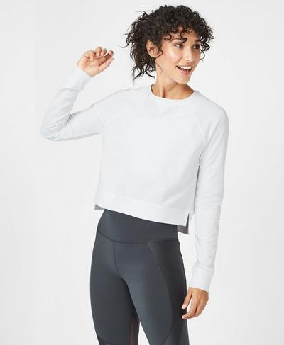 Chelsea Crop Sweatshirt, White | Sweaty Betty