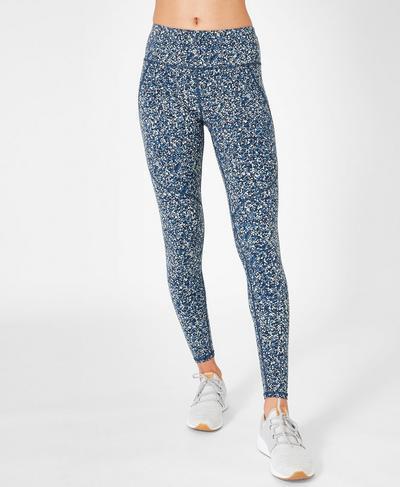Power Workout Leggings, Beetle Blue Hexagon Print   Sweaty Betty
