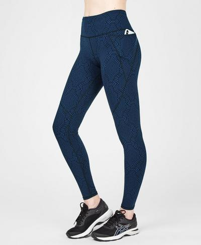 Power Workout Leggings, Beetle Blue Interlinked Geo Print | Sweaty Betty